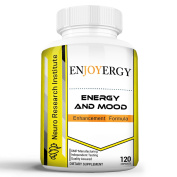 Enjoyergy Energy and Mood Enhancement Formula (120 Capsules) | Caffeine + L-Theanine | Clinically Effective Doses | Increased Happiness and Alertness | Improved Memory and Focus | No Crash or Jitters