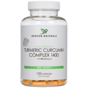 Hudson Naturals Turmeric Curcumin Complex, Pure High Potency 1400 mg, 120 Capsules Standardised to 95% Curcuminoids with BioPerine for Improved Absorption | Made in the USA in GMP Certified Facility