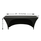 Your Chair Covers - Spandex 1.8m x 46cm Open Back Rectangular Table Covers Black