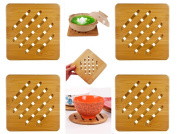 Weikai Bamboo Trivet Mat Set, Heavy Duty Hot Pot Holder Pads Coasters, Perfect for Modern Home Kitchen Decor, Set of 4, 18cm Square