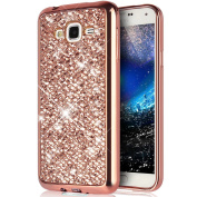 Galaxy J7 Case,PHEZEN Galaxy J7 Luxury Glitter Sparkle Bling Case, Electroplated Soft Flexible TPU Bumper Crystal Diamond Protective Back Case Cover For Samsung Galaxy J7, Rose Gold