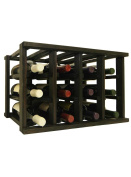 Mini Stack Individual Wine Rack for 12 Wine Bottles - Fully Assembled - Midnight Black Stain
