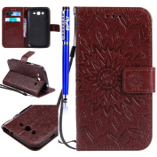 FESELE Samsung Galaxy Grand Neo Plus i9060 Case PU leather Cover with Sunflower Embossing Design PU Leather Bookstyle Wallet Case Magnetic Closure with Stand Function PU Leather Wallet Flip Cover Sleeve Card Slot and Banknotes Pocket with Hand Strap La ..