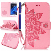 FESELE Samsung Galaxy S7 Case Bling Bling Sparkling PU leather Cover with Rhinestone Diamond Design PU Leather Bookstyle Wallet Case Magnetic Closure with Stand Function PU Leather Wallet Flip Cover Sleeve Card Slot and Banknotes Pocket with Hand Strap ..