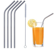 High Quality Reusable Strongest Washable NON-TOXIC Stainless Steel Eco Friendly Drinking Straws, Set of 4