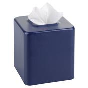mDesign Facial Tissue Box Cover/Holder for Bathroom Vanity Countertops - Matte Navy Blue