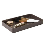 mDesign Vanity Organiser Tray for Hand Towels, Makeup, Beauty Products - Matte Brown