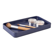mDesign Vanity Organiser Tray for Hand Towels, Makeup, Beauty Products - Matte Navy Blue