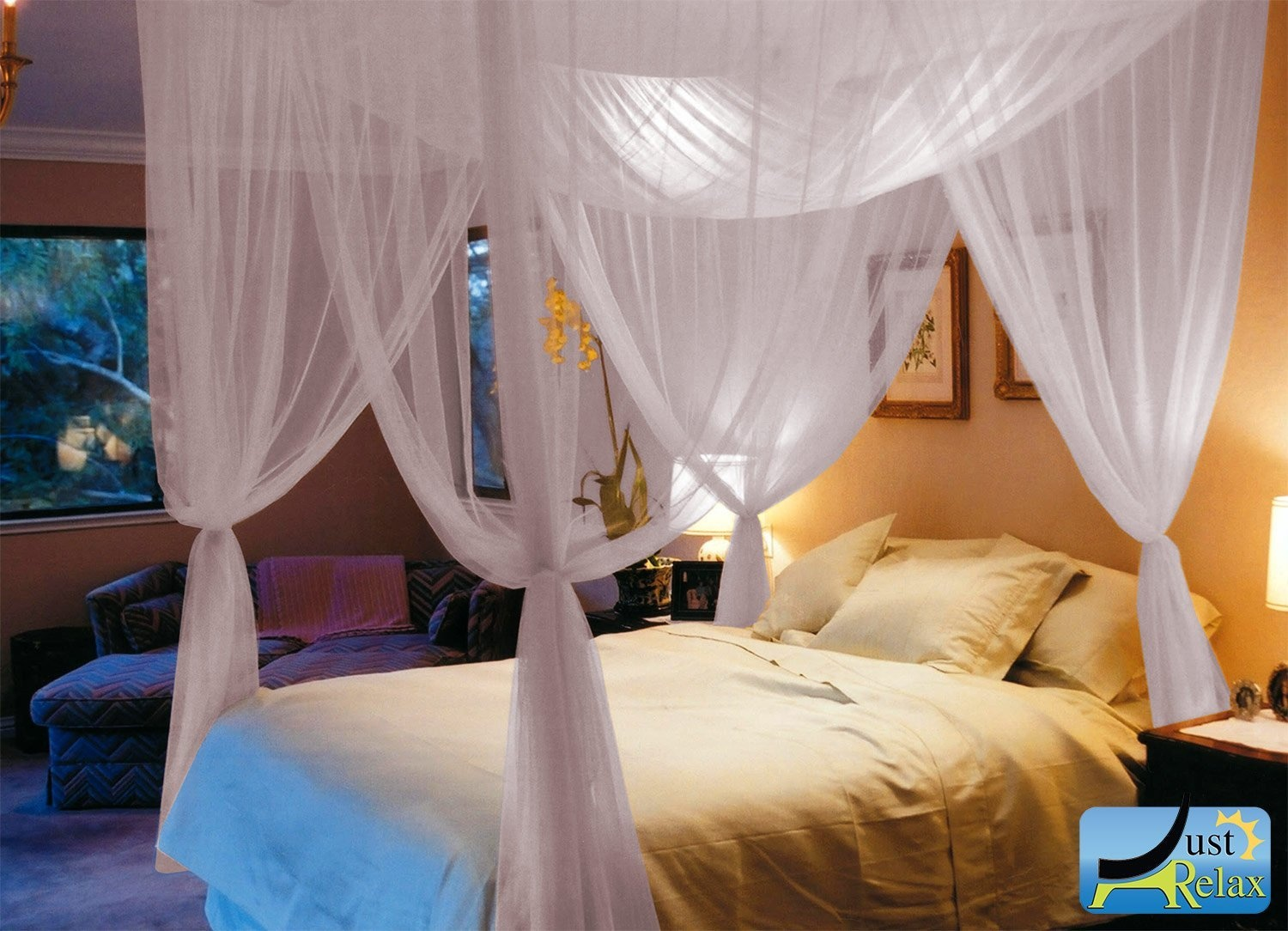 Just Relax Four Corner Post Elegant Mosquito Net Bed Canopy Set