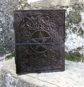 FABIYANO Large Black Pentacle 25cm Leather Journal Diary Thought Book Bound Notebook Travel