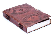FABIYANO Embossed Celtic One Lock 15cm Leather Journal Diary Thought Book Bound Notebook Travel