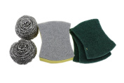 Stainless Steel Scrubber & Scrub Sponge & Scouring Pad Set By SweetDays