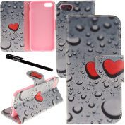iPhone 7 Case, Urvoix Card Holder Stand Leather Wallet Case - Love Heart Waterdrop Flip Cover for 12cm iPhone 7