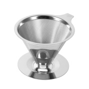Stainless Steel Pour Over Coffee Maker Filter Cone Coffee Dripper Double Layer Mesh Filter Cup Stand For Home Office Use