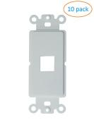 Kenuco White Decora Wall Plate Keystone Insert | 1 Port | 10 Pack