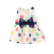 BOBORA Girl Dress Girls Polka Dot Bow Sleeveless Organza Custume
