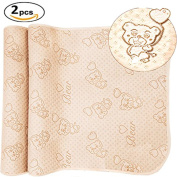 Da Jia Inc 2pcs 50cm x 70cm 4 Layers Coloured Cotton Waterproof Changing Pad For Baby Breathable Absorbent Urine Mat Washable Mattress Pad Sheet Protector