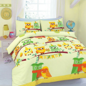 Goldstar® Cute Owl Cot Bed Size Duvet Quilt Cover Printed Bedding Set With Pillow Case