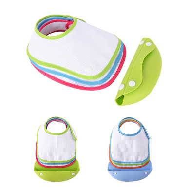 Baby Toddler Silicone Waterproof Bibs,Pack of 3 Safe & Care Soft Cotton Bibs, Comfortable,Safe and Lifetime Cleaning Adjustable Baby Food Bibs Feeding for Boys or Girls,Green
