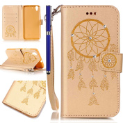 FESELE Huawei Y6 II/Honour 5A Case Bling Bling Sparkling PU leather Cover with Rhinestone Diamond Design PU Leather Bookstyle Wallet Case Magnetic Closure with Stand Function PU Leather Wallet Flip Cover Sleeve Card Slot and Banknotes Pocket with Hand  ..