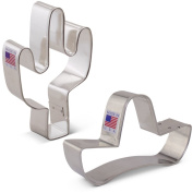 Cinco de Mayo / Mexican Heritage Cookie Cutter Set - 2 piece - Sombrero and Cactus - Ann Clark - Tin Plated Steel