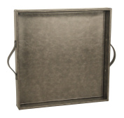 PU Leather Square Serving Tray, Coffee Tray with Handles, Wood Structure Decorative Tray, Dark Grey, 15 x 38cm x 5cm