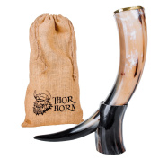 THOR HORN Large Viking Drinking Horn with Stand – Authentic & Food Safe Cup – No Leaks – Norse Drinking Beer Mug with 590ml Capacity – Preferred Choice of Vikings & Game of Thrones Fans