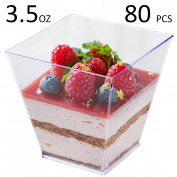 Tosnail 100ml Square Clear Plastic Mini Dessert Tumbler Cups - 80 Pack
