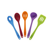 VonShef 5 Piece Multi-Colour Heat Resistant Silicone Kitchen Cooking Utensil Set with Ladle, Turner, Spoon, Spaghetti Server & Slotted Spoon