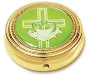 Jesus Ichthys Fish w Loaves Latin Cross Design Gold Plate Catholic Religious Hospital Church Communion Pyx for Hosts