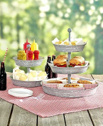 Vintage Galvanised 3 Tier Serving Tray Rustic Country Farmhouse Kitchen