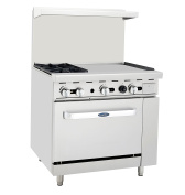 Atosa ATO-2B24G NG 90cm Gas Range 2 Burners 60cm Griddle with 70cm Stove ETL