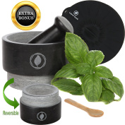 Granite Mortar and Pestle Set – REVERSIBLE – Large Stone Set with FREE Silicone Lid / Mat and Spoon [14cm , 590ml] by Laevo Cook