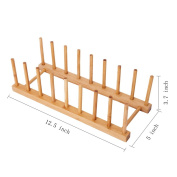 HBlife Bamboo Dish / Plate / Bowl / Cup / Book / Pot Lid / Drying Rack Stand Drainer Storage Holder Organiser