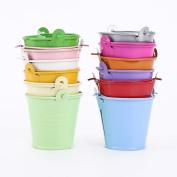 leisial Planter for Flowers Mini Metal Buckets Multicolor Mini Tin Barrel Decoracion Tables 12pcs