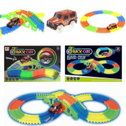 TISEN Kids 128 Pieces Glow In The Dark NOCTILUCENT TRACK CAR -Create Endless Colourful detailed Tracks,