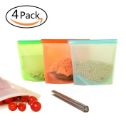 Reusable Silicone Food Preservation Bag Airtight Seal Food Storage Container Versatile Cooking Bag Kitchen Cooking Utensil Set of 4PCS