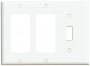 Leviton 80431-W 3-Gang 1-Toggle 2-Decora/GFCI Device Combination Wallplate, Standard Size, Thermoset, Device Mount, White