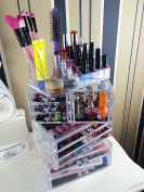 Cq acrylic Large 9 Tier Clear Acrylic Cosmetic Makeup Storage Cube Organiser with 9 Drawers. It Consists of 4 Separate Organisers, Each of Which Can be Used Individually -24cm x 17cm x 14.13cm