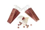 Large Cedar Hang Ups Set - 10 Hangups Plus Sachets and Balls - 100% American Aromatic American Cedar