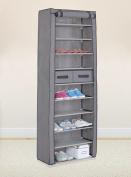 Grey 10 Tiers Shoe Rack with Dustproof Cover Closet Shoe Storage Cabinet Organiser