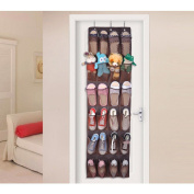 Hippih Over the Door Shoe Organiser with 24 Reinforced Pockets Hang on standard doors with 3 hooks,160cm x 48cm