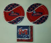 Ole Miss Rebels Party Bundle 23cm Plates (16) Lunch Napkins