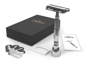 Elkaline Premium Safety Razor for Men & Women - Double-edged Razor with a Long Handle (11cm ) for a Close Shave without Cuts or Razor Burns - Includes Razor Stand & 5 Premium Safety Razor Blades