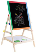 YARMOSHI Double Sided Adjustable Wooden Drawing Board Easel | Chalk Blackboard & White Dry Erase Surface | Magnetic Sponge, Marker Pen, Chalks and Bottom Tray | For Learning, Games, Best for kids