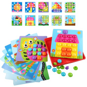 AMOSTING Button Art Colour Matching Mosaic Pegboard Early Learning Educational Toys for Boys and Girls