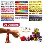 Bracelets Party,52 Pack Slap Bracelets (26 Design),Yeonha Toys Slap Bands with Colourful Hearts,Emoji,Peace,Animal Prints Toys Party Favours Birthday School Classroom Prize For Kids Boys Girls Adults