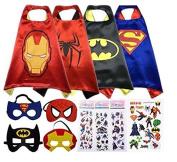 Sasha Kids Superhero Capes and Mask Costume Sets with Bonus Stickers and Tattoo