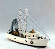 Nautical Shrimp Boat 30cm Wood New