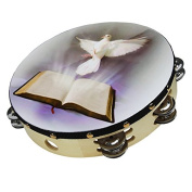 25cm Praying Hands Double Row Jingles Percussion Tambourine for Church